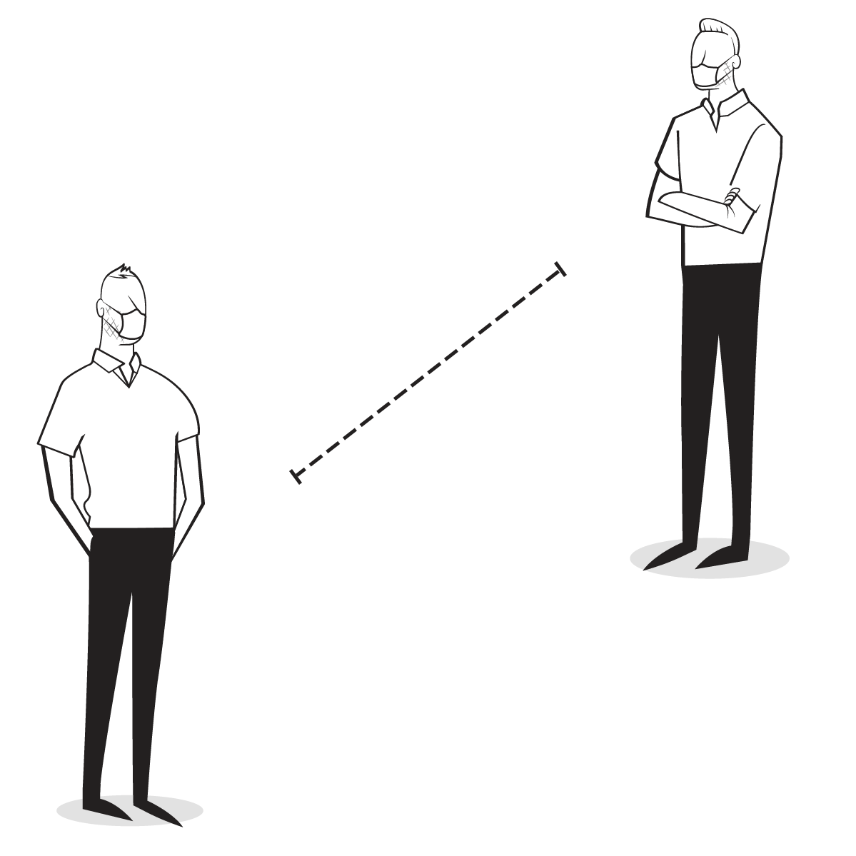 Graphic of Dr. Wagner and Dr. Pinar demonstrating social distancing.