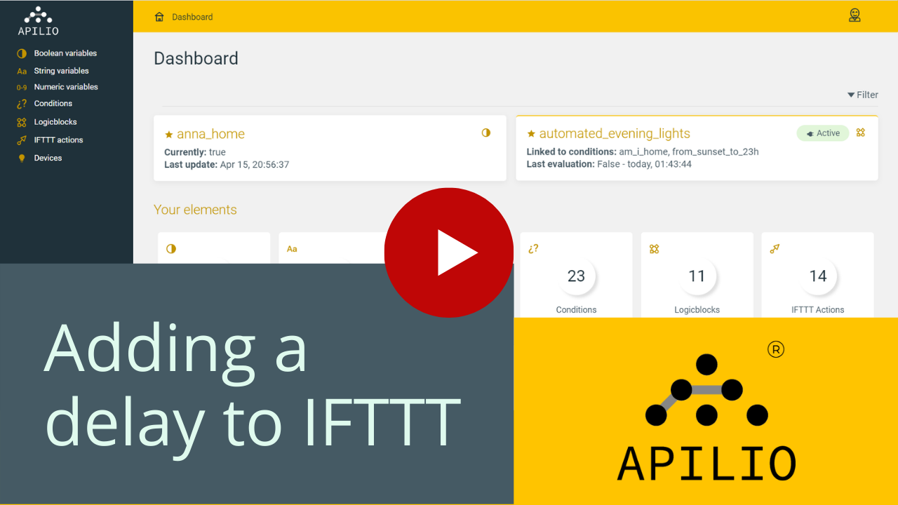 """Youtube thumbnail for the """"adding a delay to IFTTT with Apilio"""" video"""