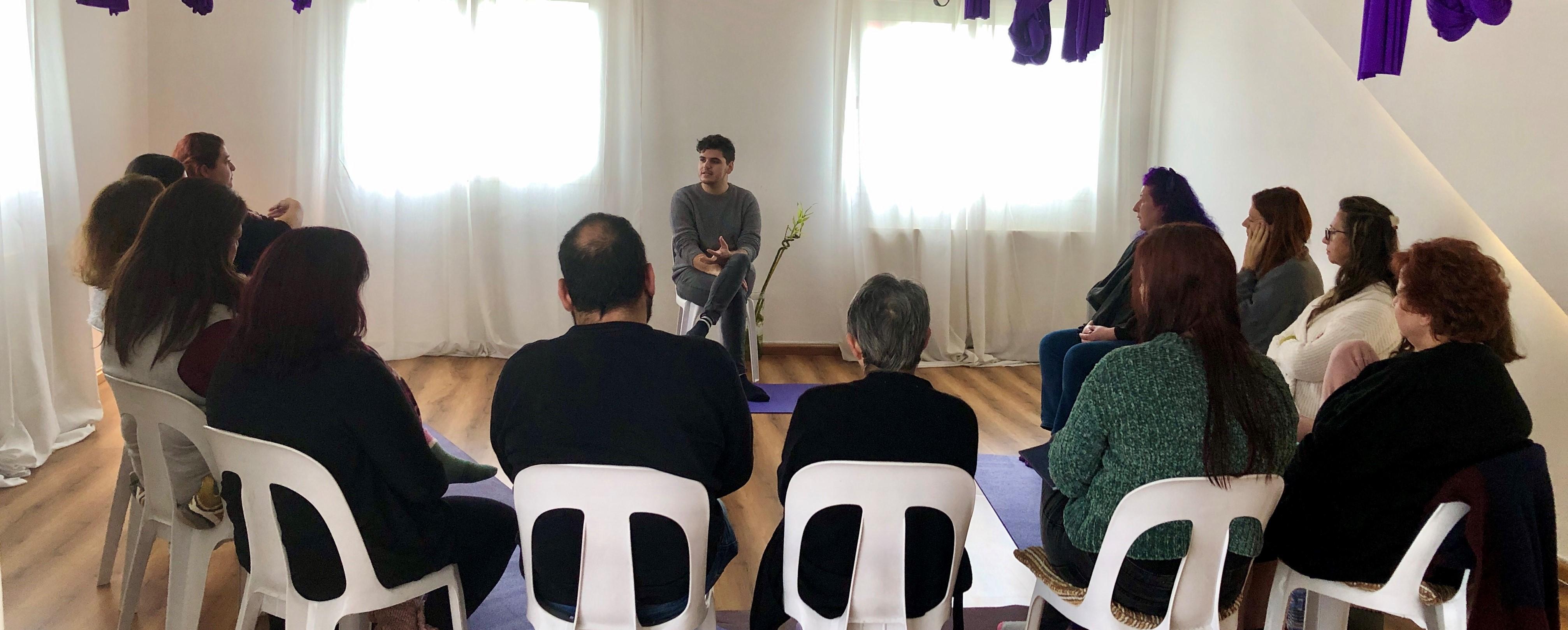 February 2020, Giorgos teaching the Introduction to Mediumship workshop