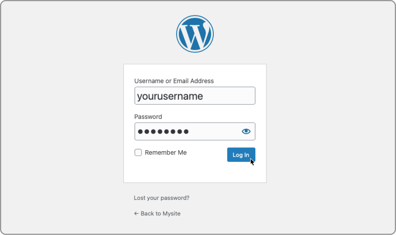Sign in to WordPress