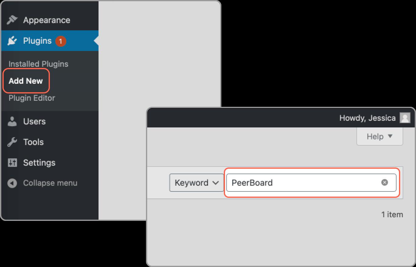 PeerBoard plugin in the search window in WordPress