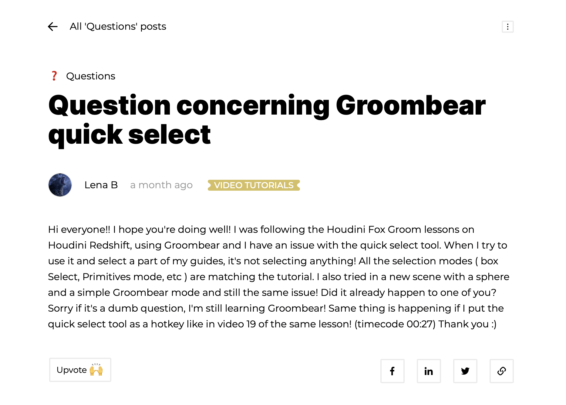 Questions in a blog post