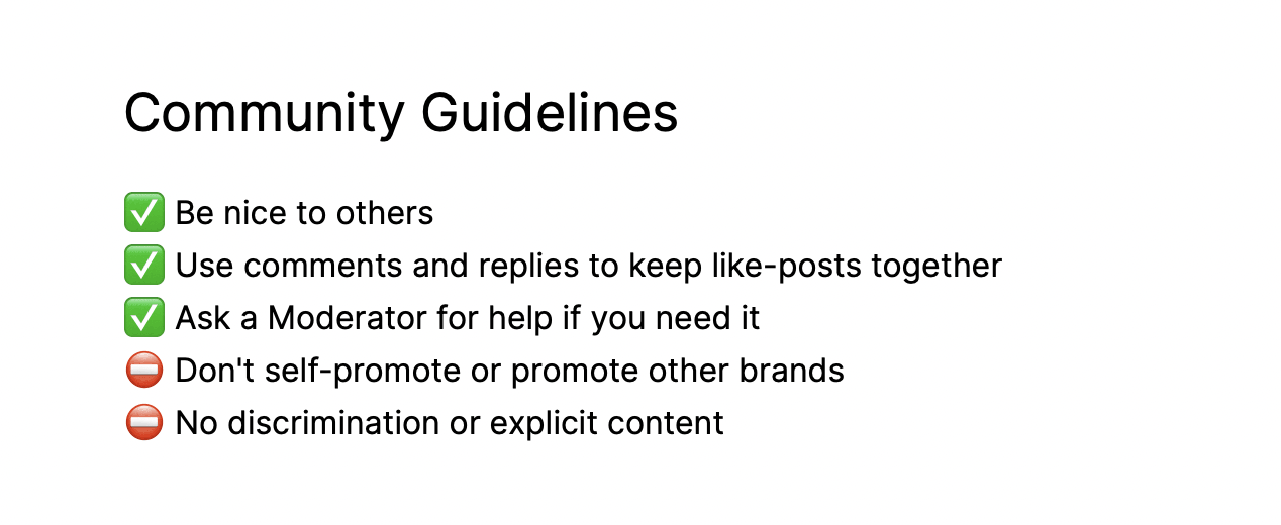 Rules and guidelines for an online community