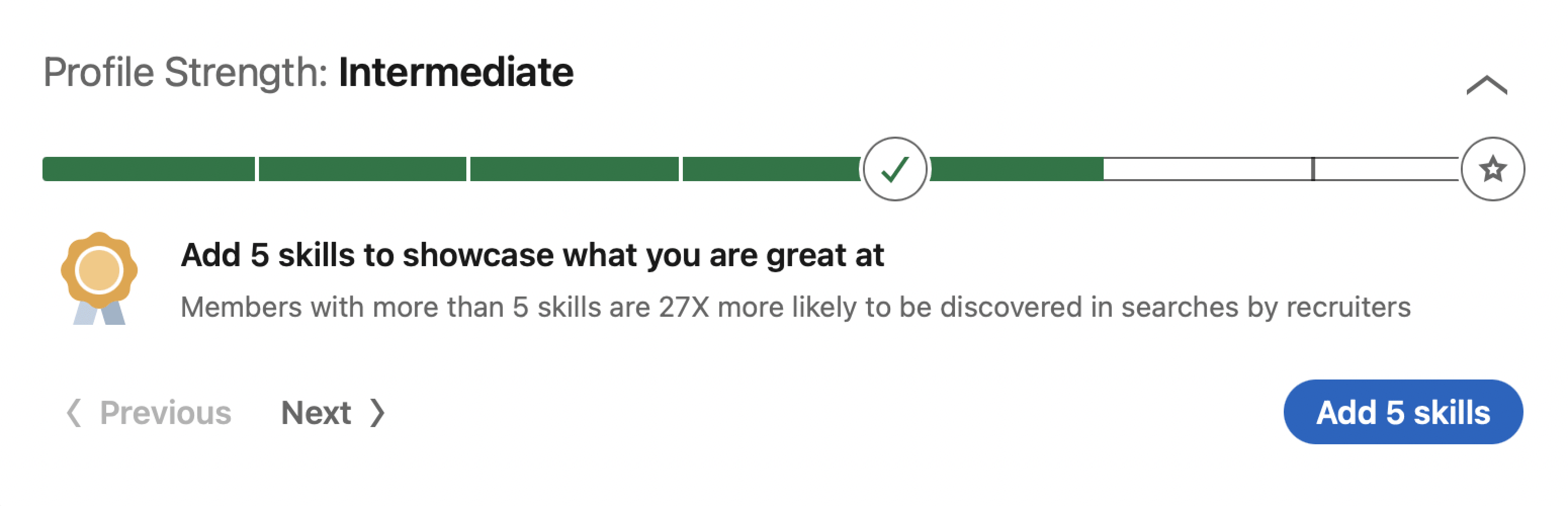 Profile progress bar in LinkedIn
