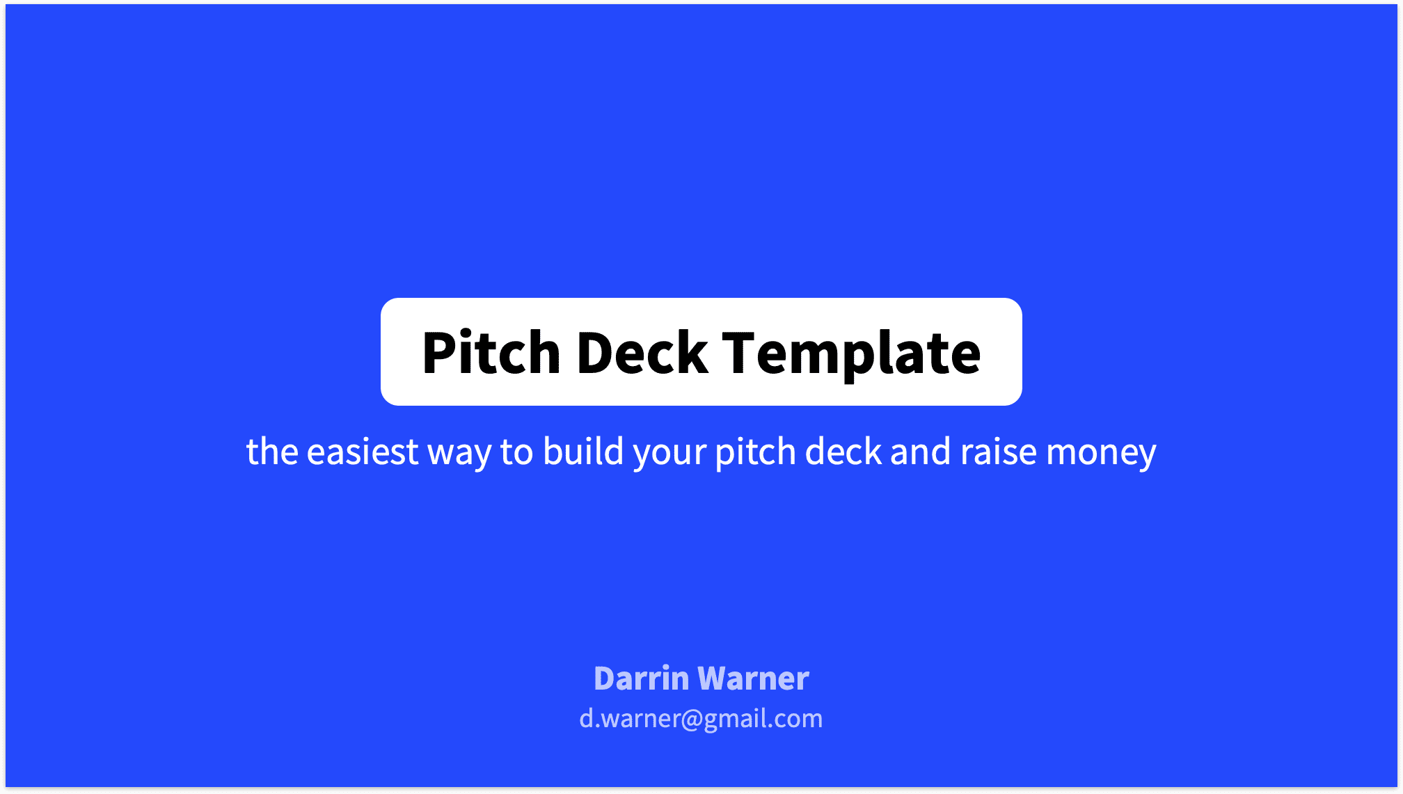 Pitch Deck Title Slide in Blue