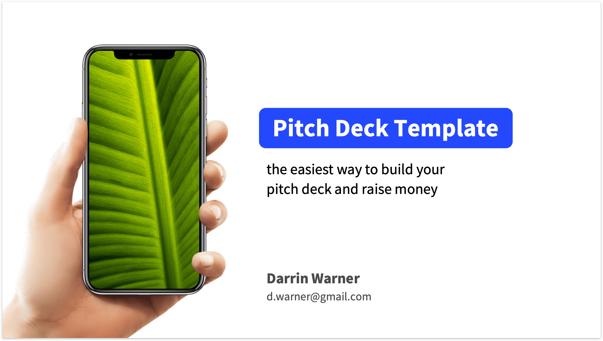 Pitch Deck Title Slide with Phone Mockup