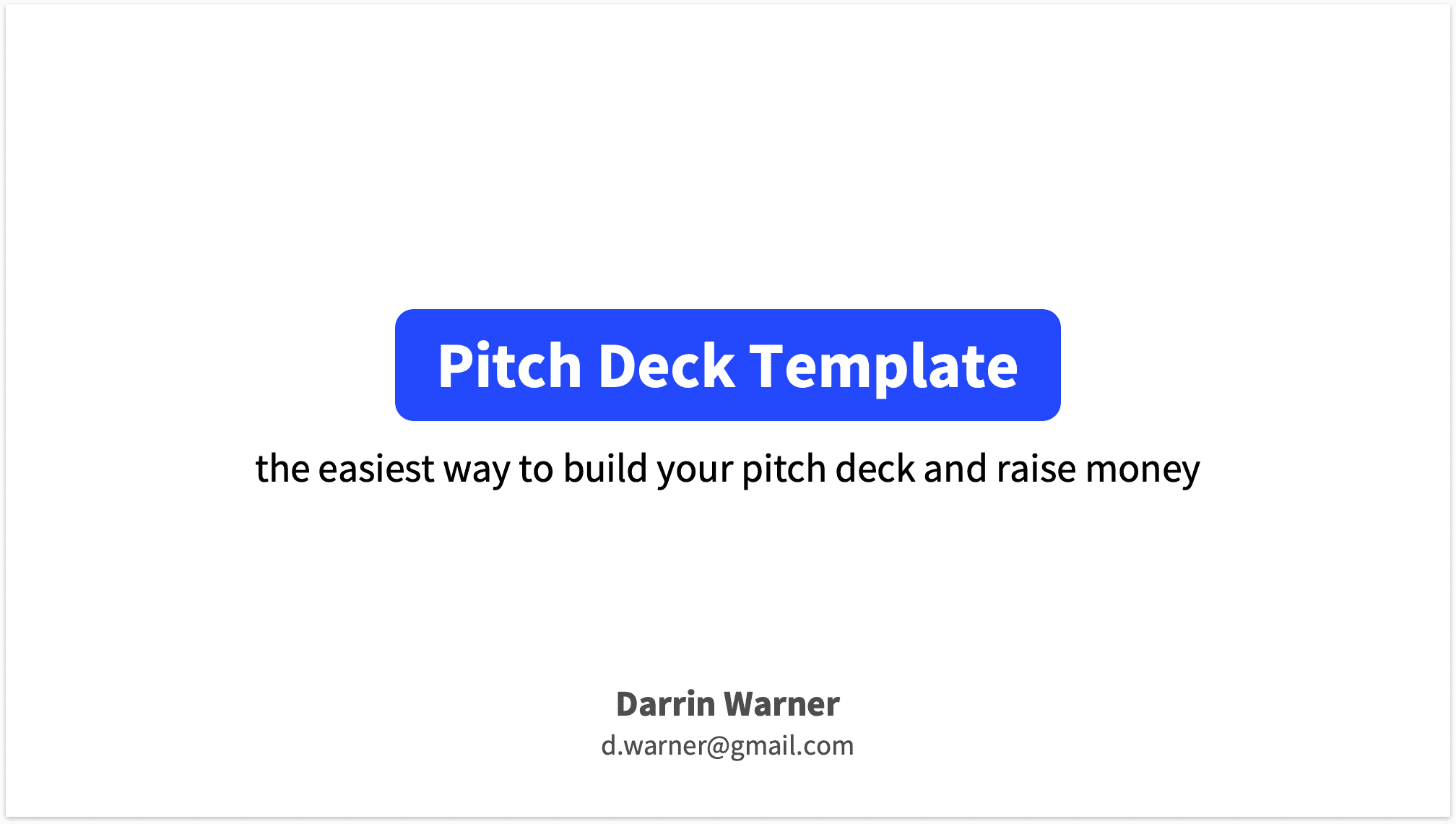 Pitch Deck Title Slide Plain White