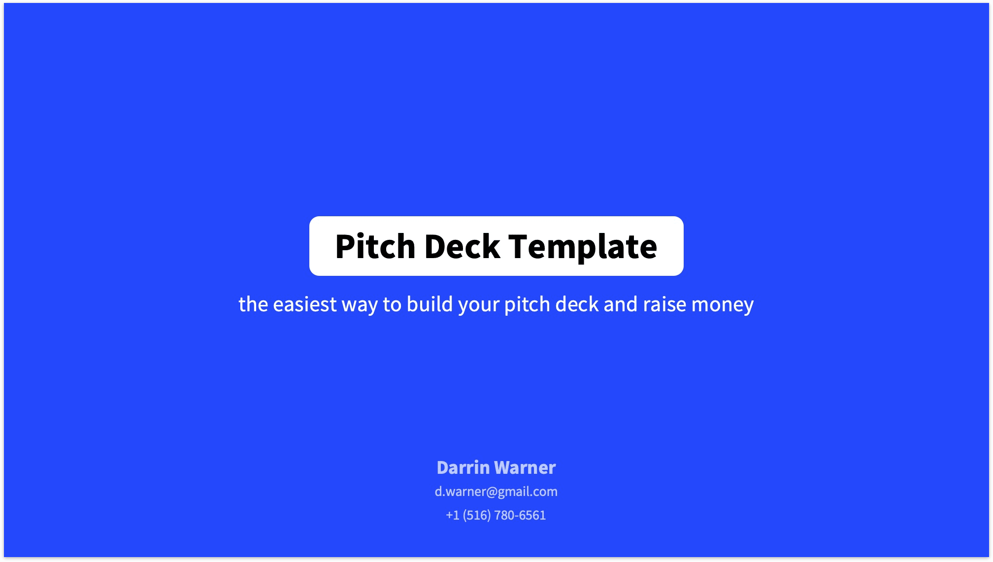 Pitch Deck Title Slide Reading Version in Blue