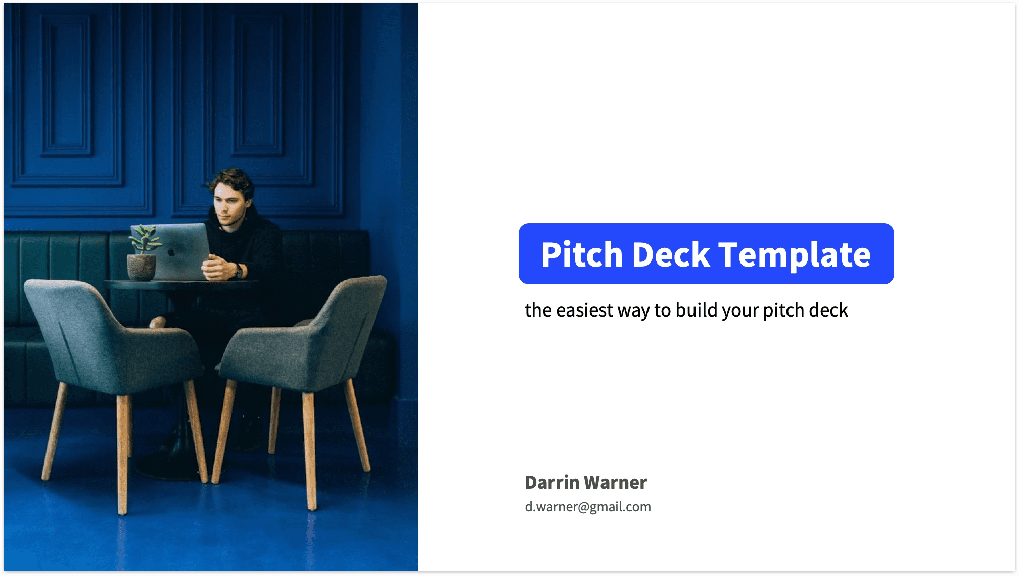 Pitch Deck Title Slide Reading Version with Photo