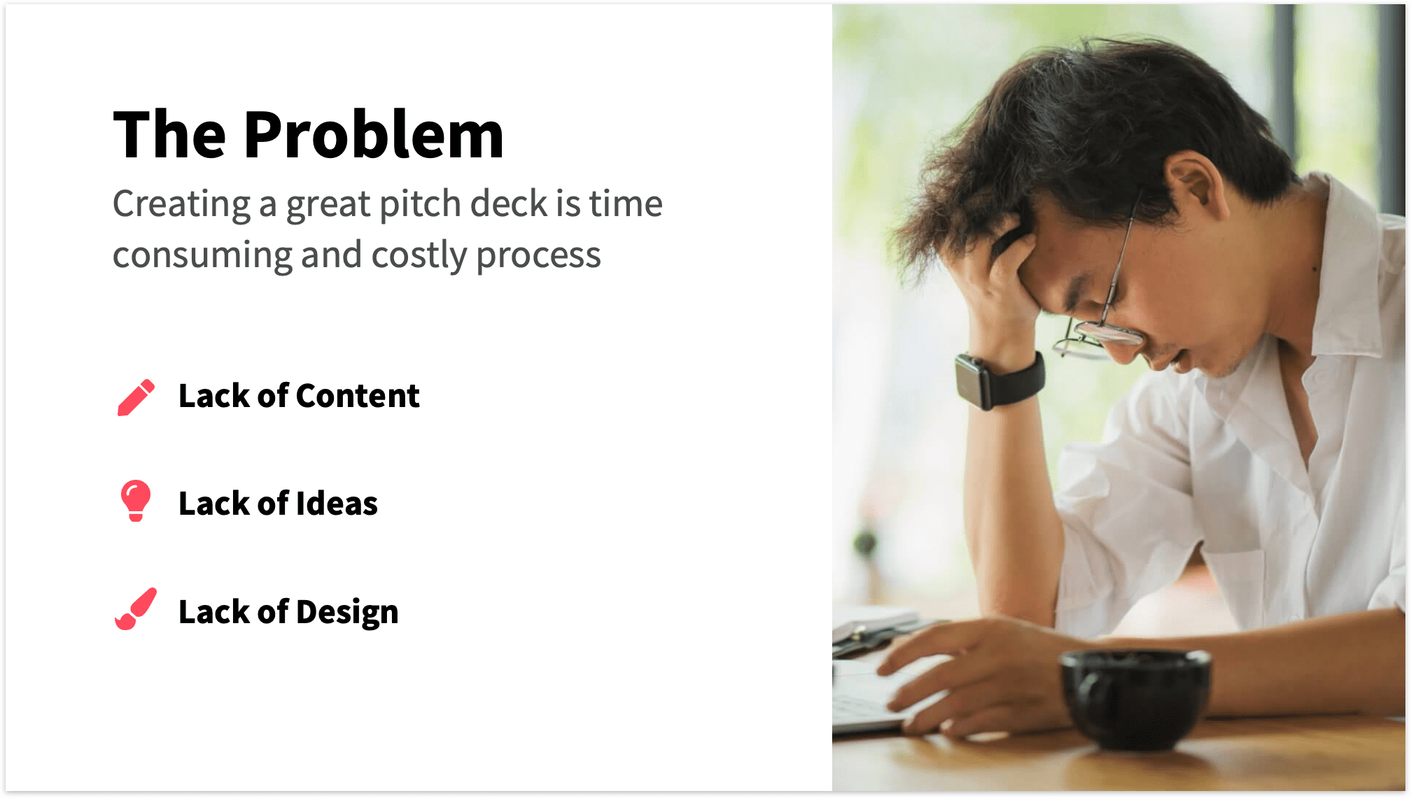 Problem Slide Pitch Deck with Photo