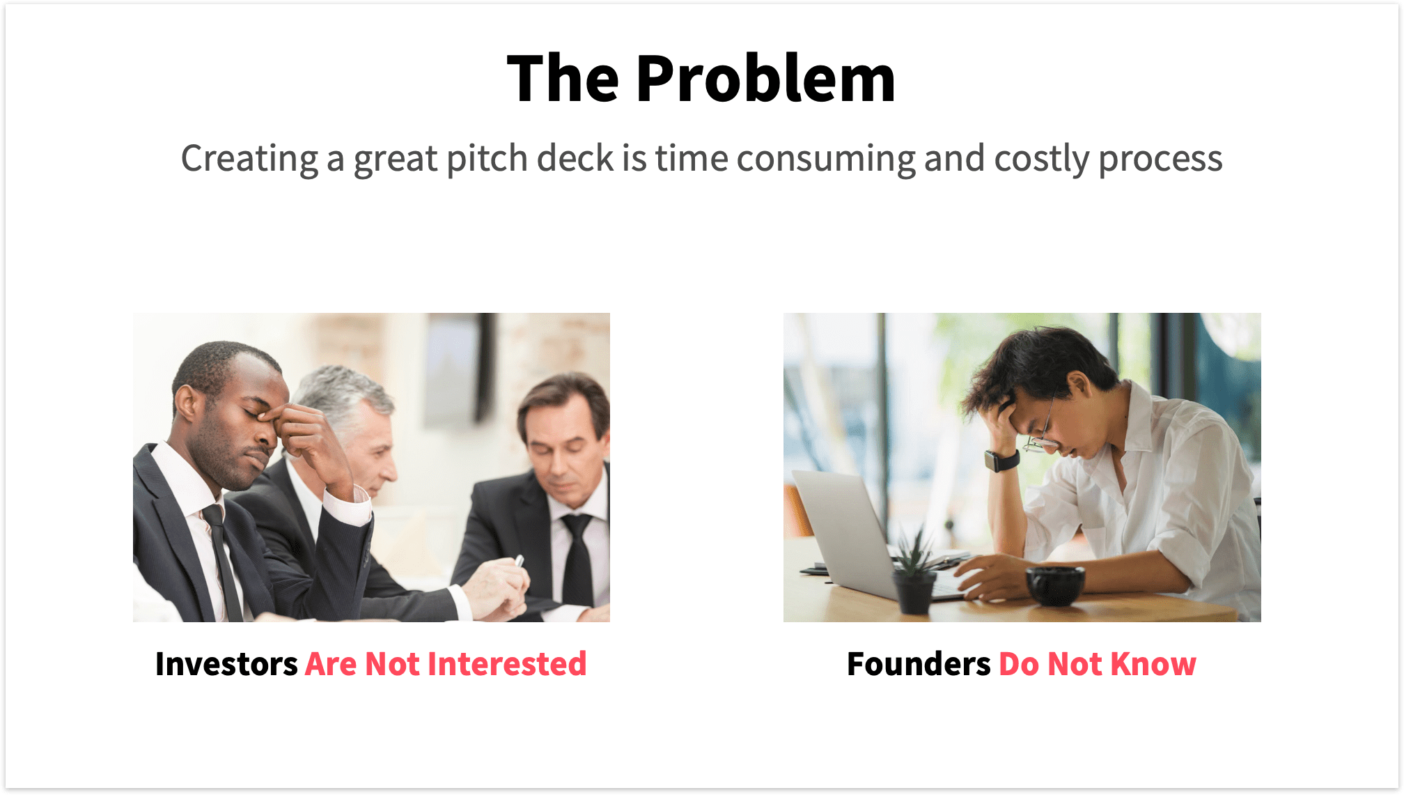 Problem Slide Pitch Deck with 2 Problems