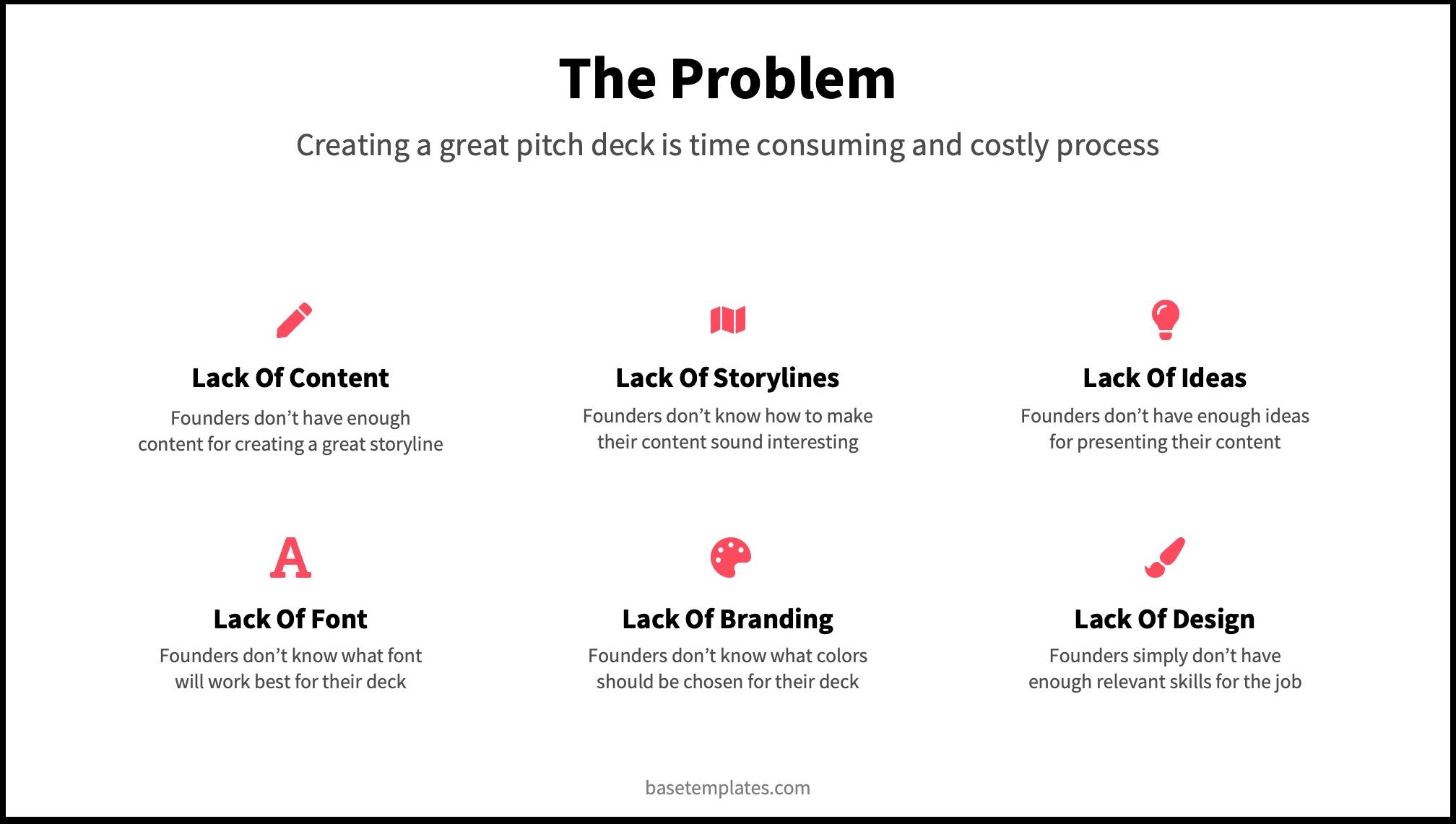 6 Problems on Pitch Deck Problem Slide