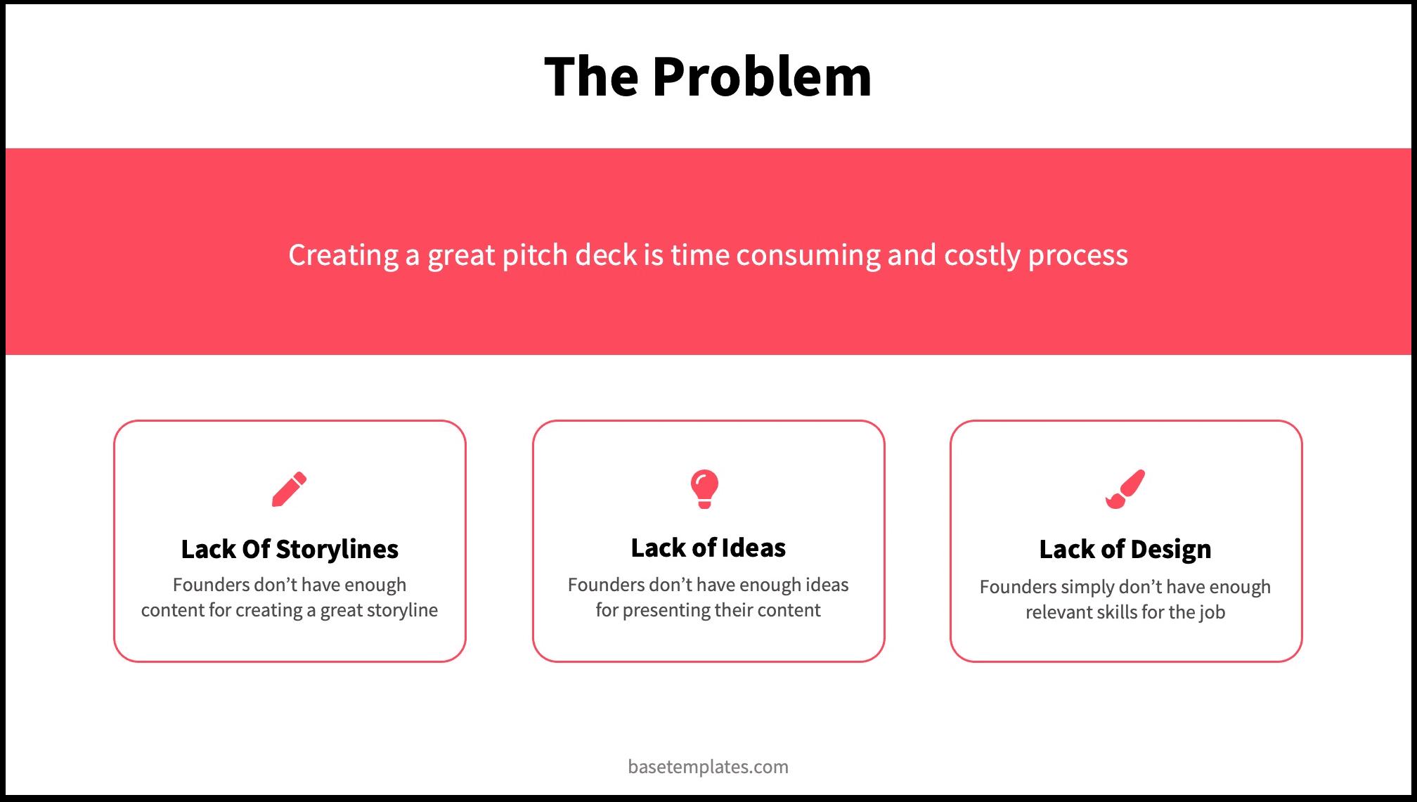 3 Problems for Pitch Deck Reading Version Problem Slide