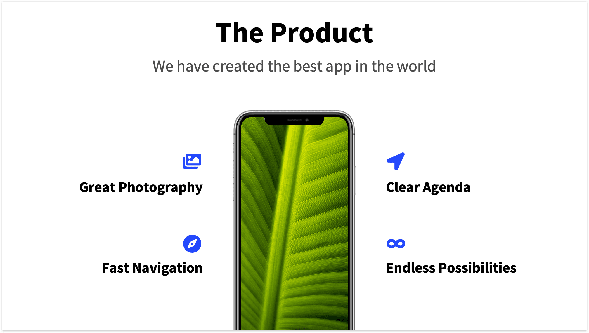 Product Pitch Deck Slide Mockup Mobile with Features