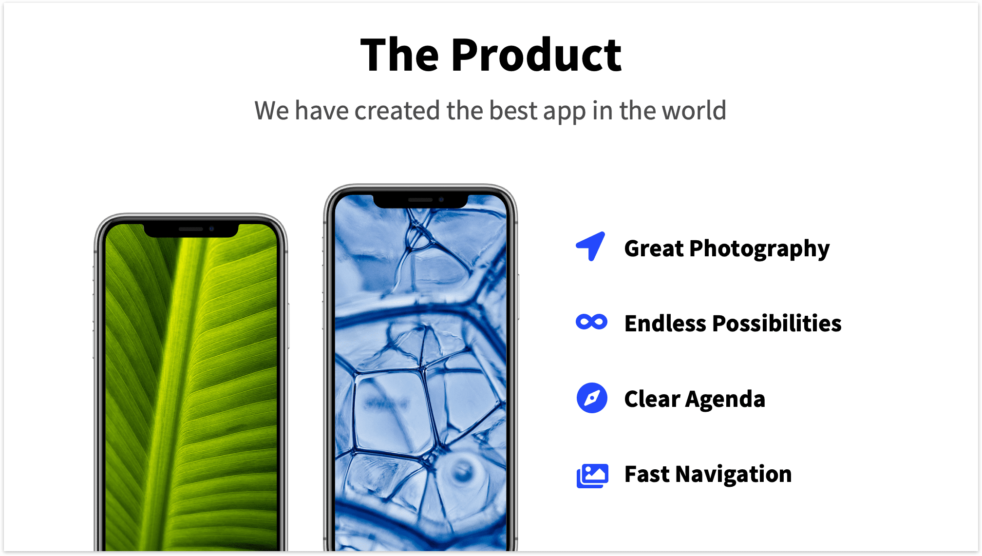 Product Slide Pitch Deck with App Features and Mockup