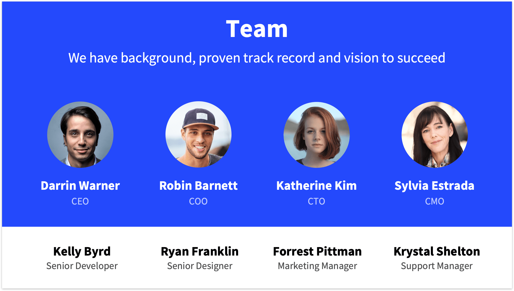 Pitch Deck Template Team Slide with Blue Background