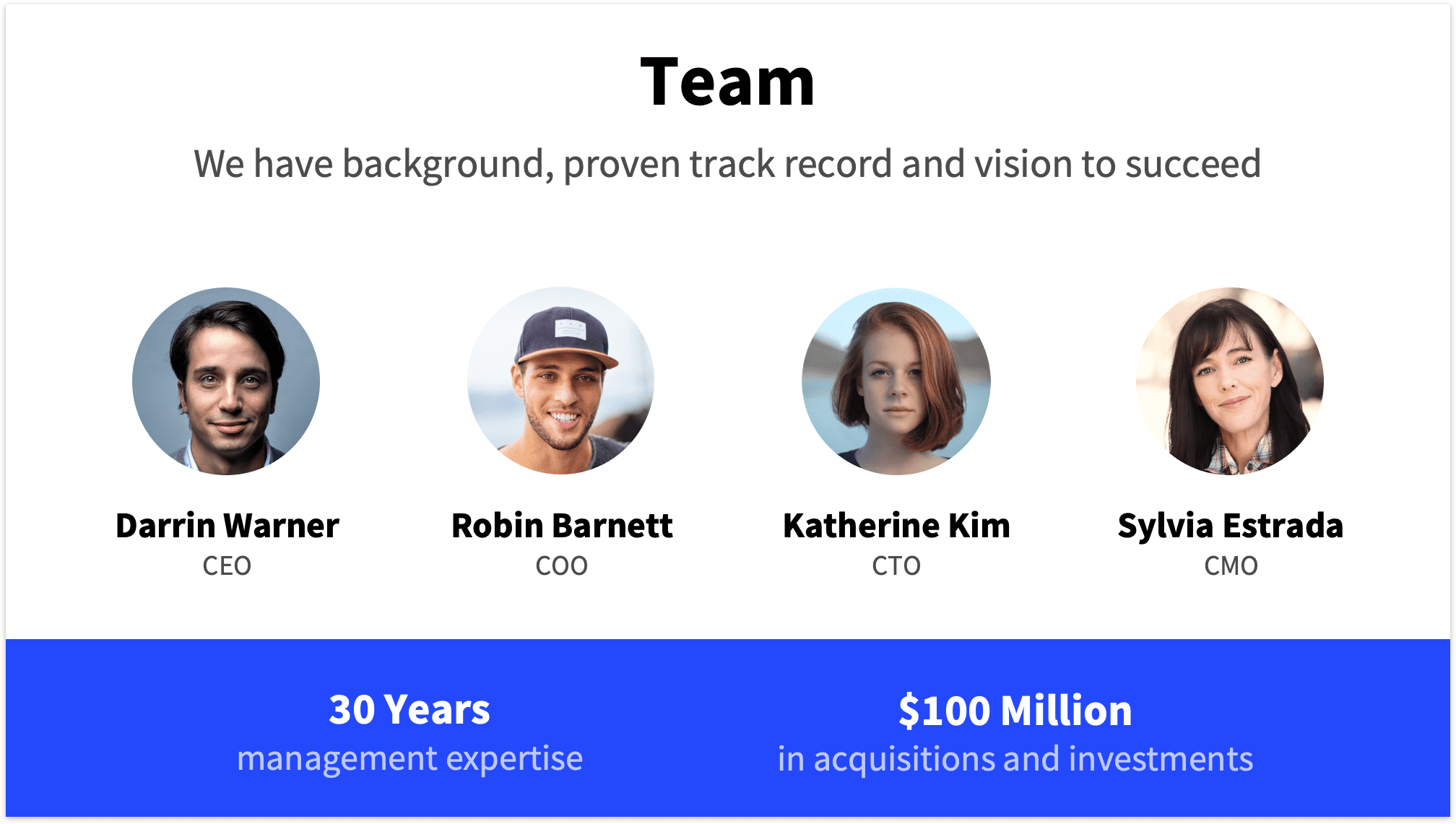 Team Slide for Startup Pitch Deck