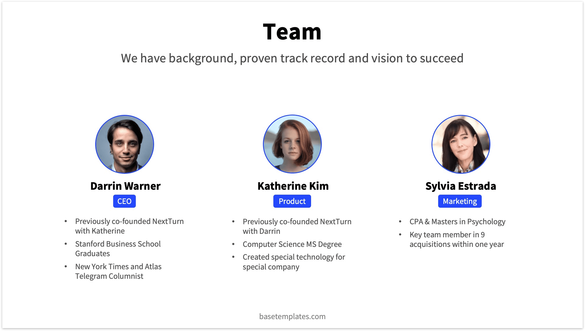 Team Slide with 3 Founders and additional Info