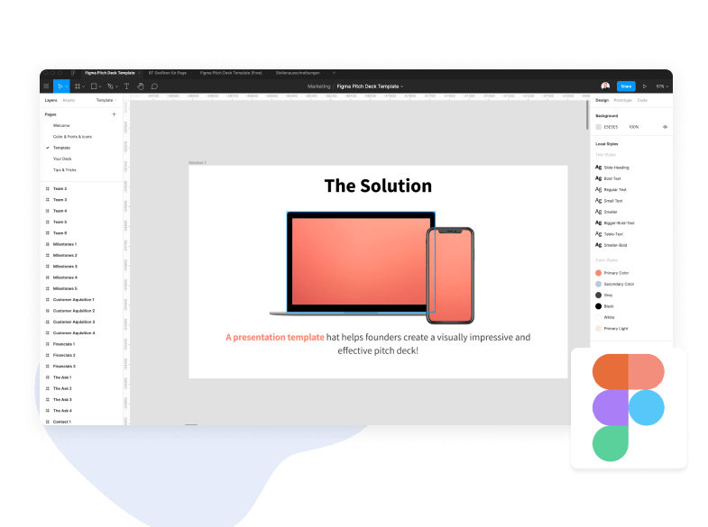 Different colors of the Pitch Deck Template