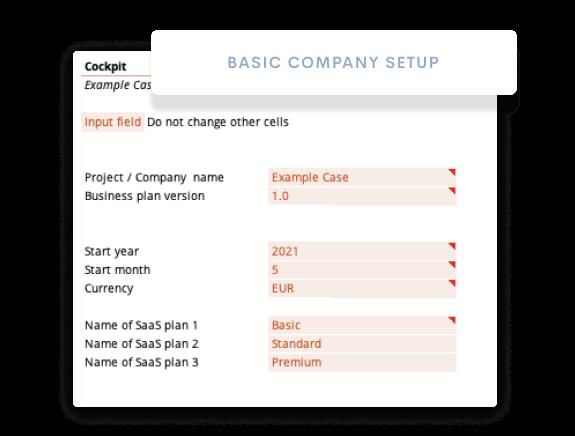 Company Data Setup Financial Model
