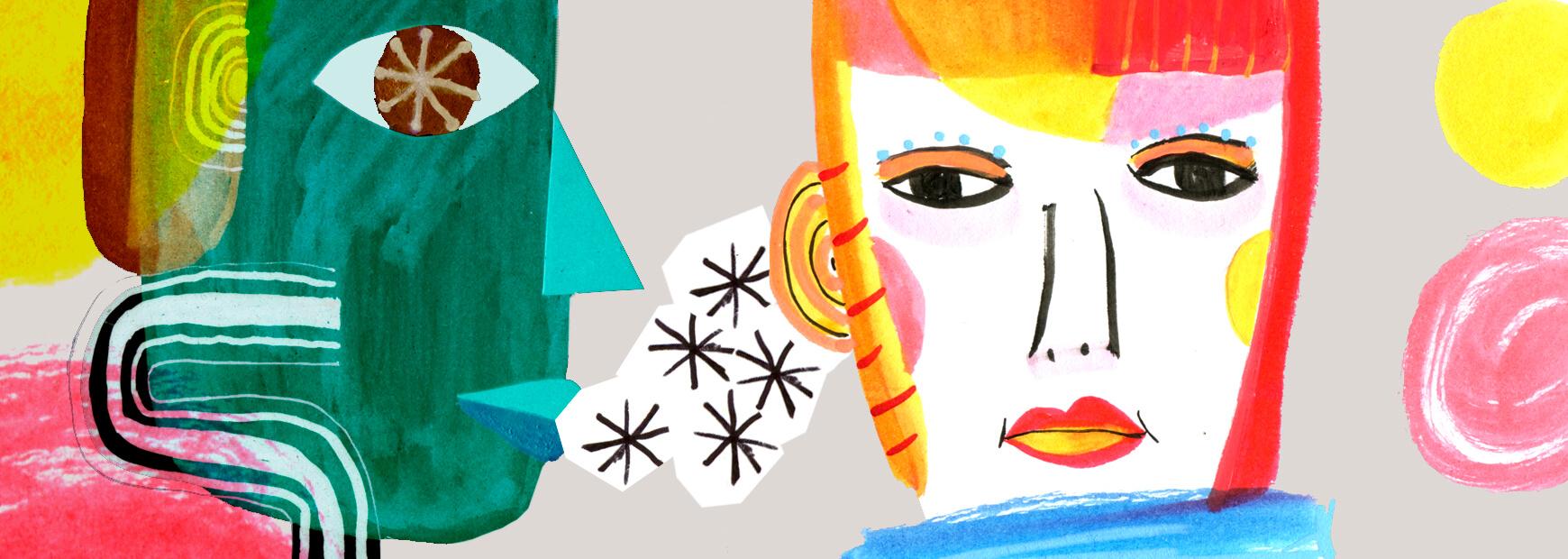 Ilustración de tipo collage para representar la escucha activa