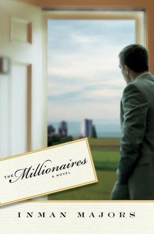 A man in a suit looks out an open door to a green meadow