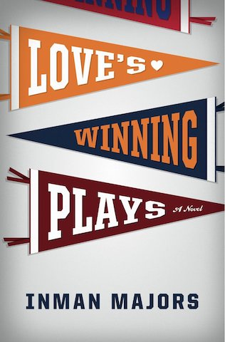 "Three sports banners display each word of ""Love's winning plays"""