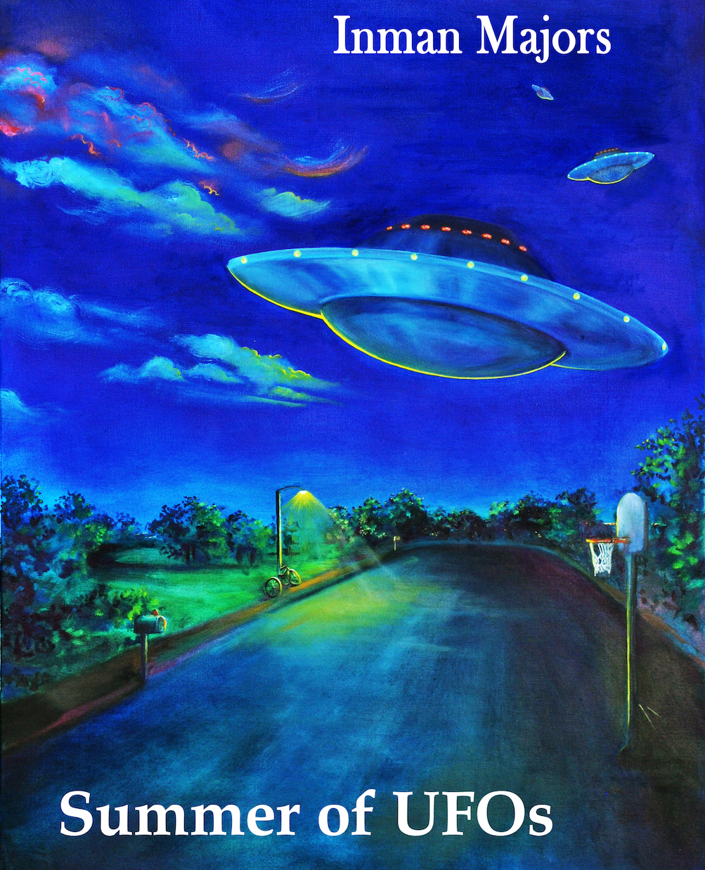 A UFO hovering over an abandoned highway at night