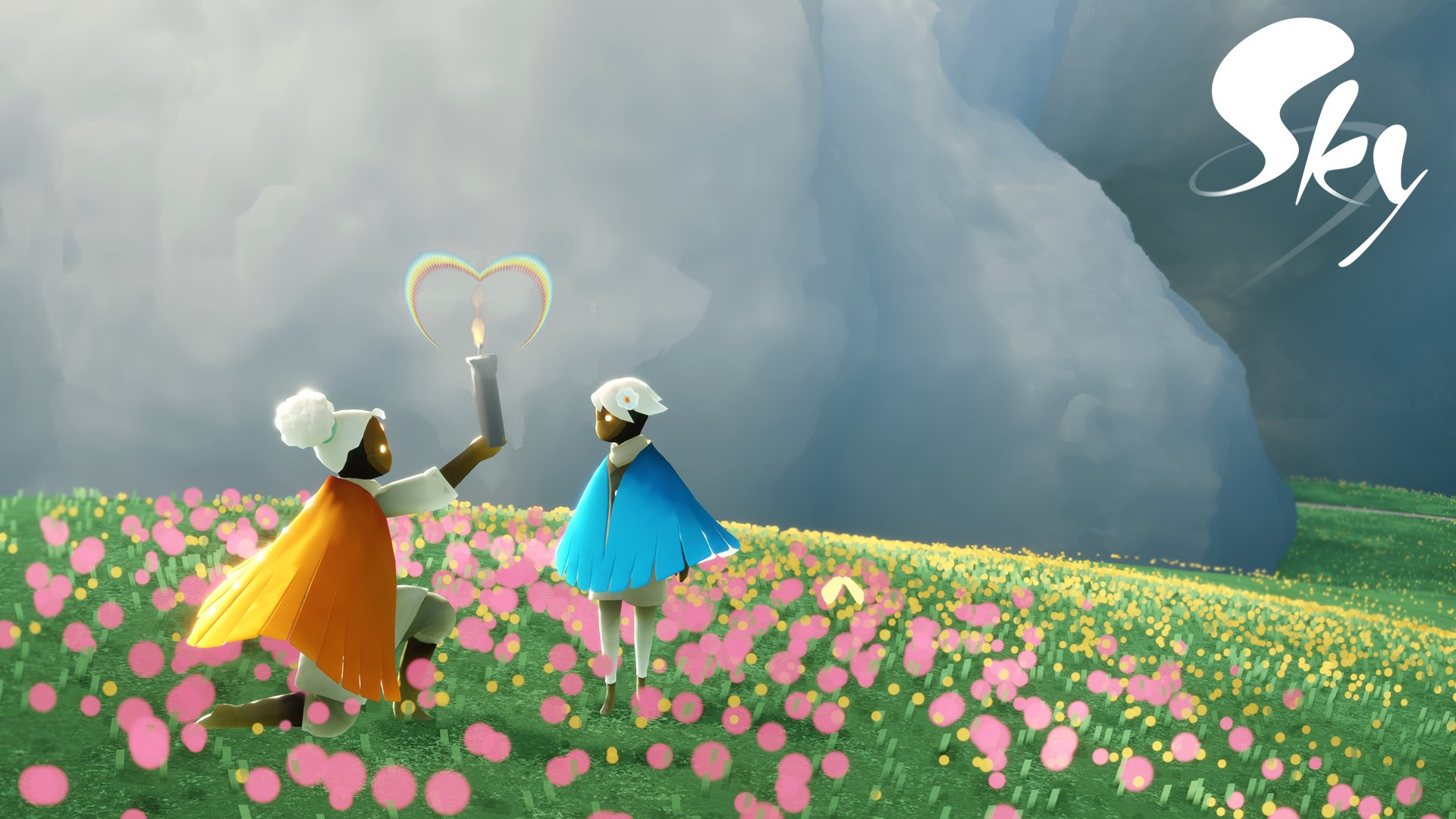 Characters from Sky: The Children of Light meeting on top of a flower covered hill.