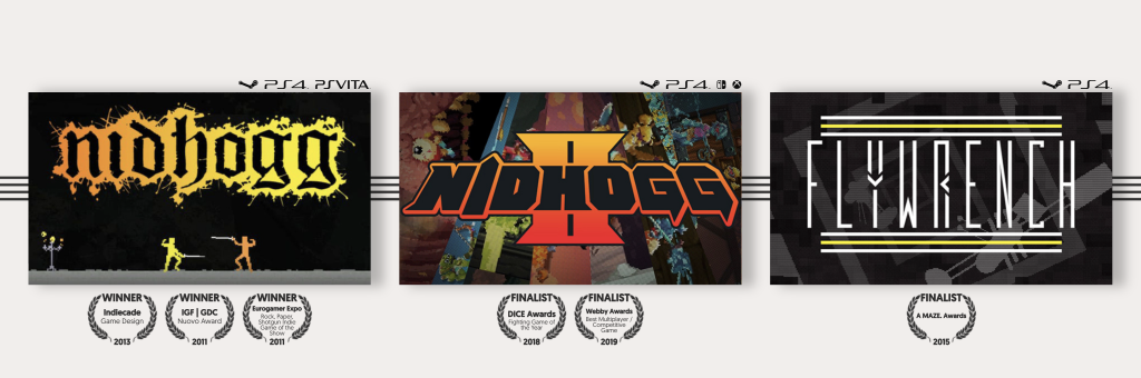 Key art for the games Nidhogg, Nidhogg 2, and Flywrench.