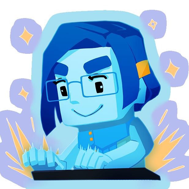 a caricature of a game developer