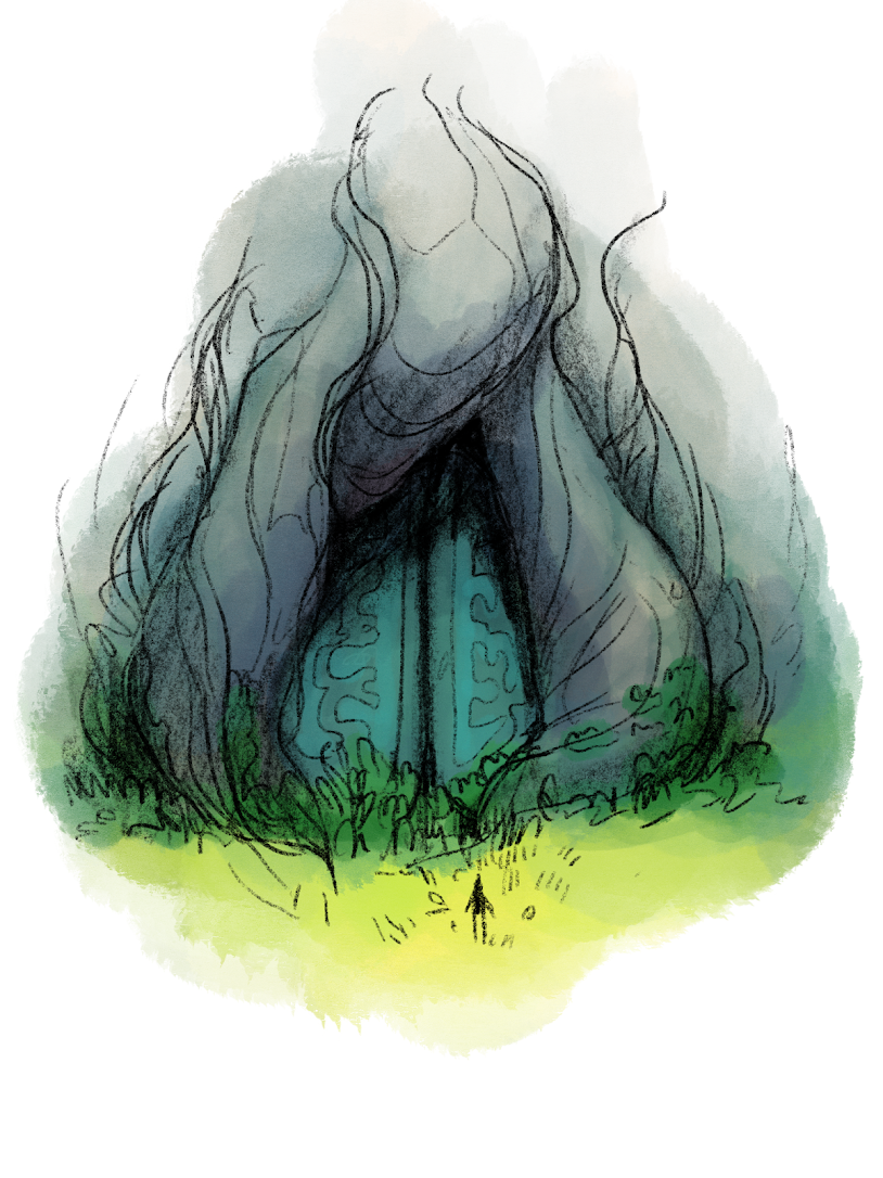 Illustration of a person in front of a cave