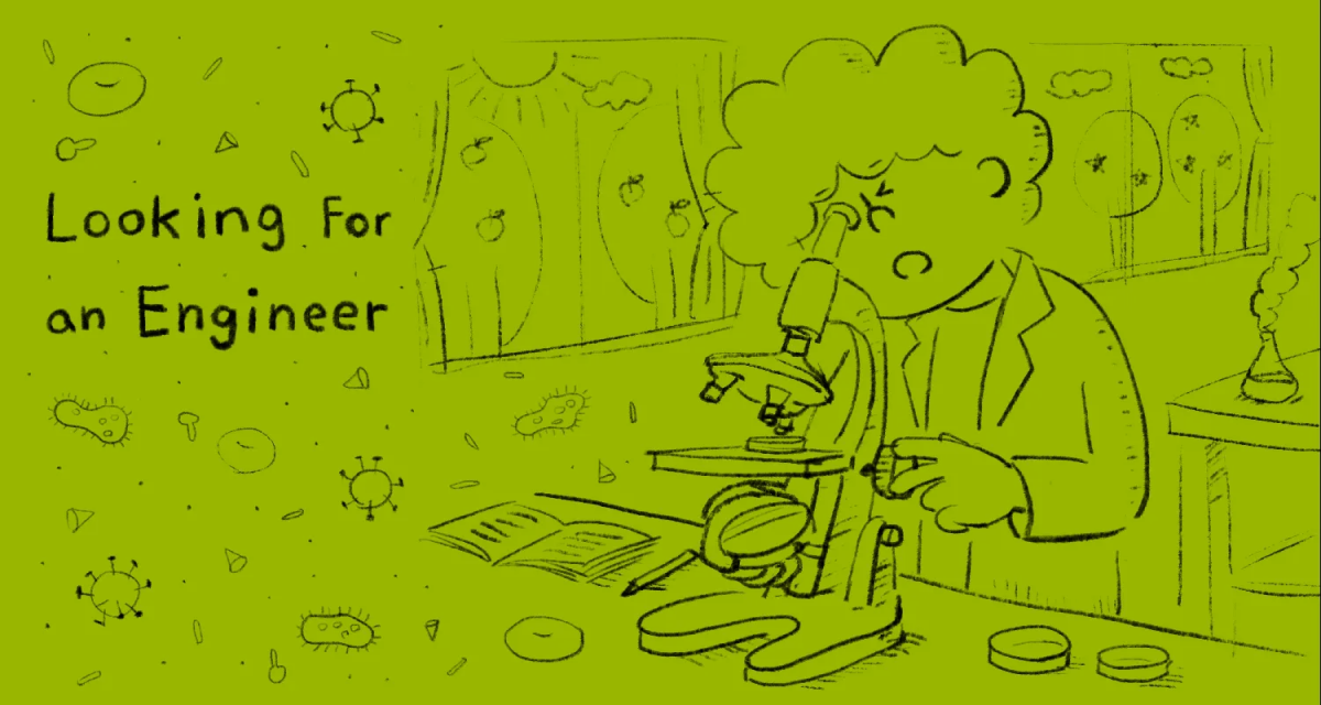 illustration of a scientist looking for an engineer through a microscope