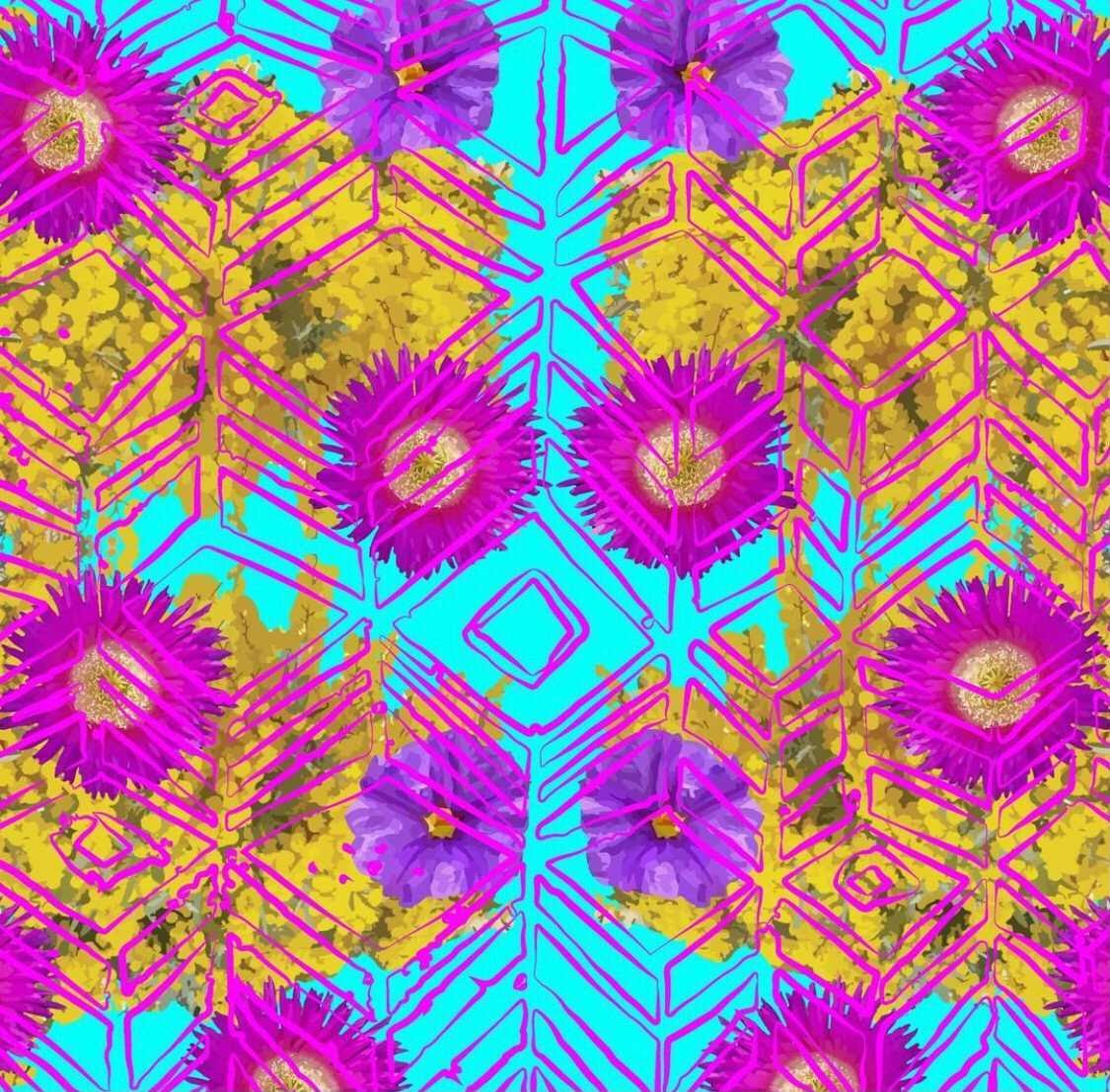 abstract artwork with purples and yellows and flowers