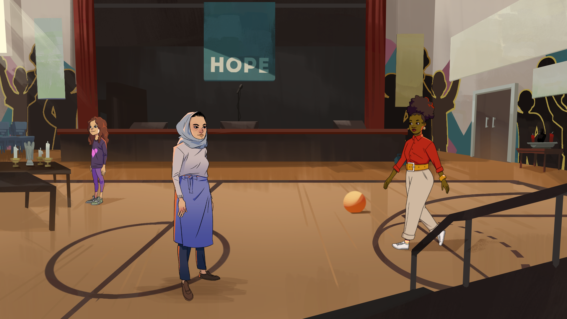 a young black woman in a basketball gym with a hope banner displayed behind a stage
