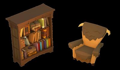 bookshelf and chair