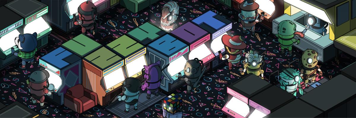 fuzzybot banner of an arcade
