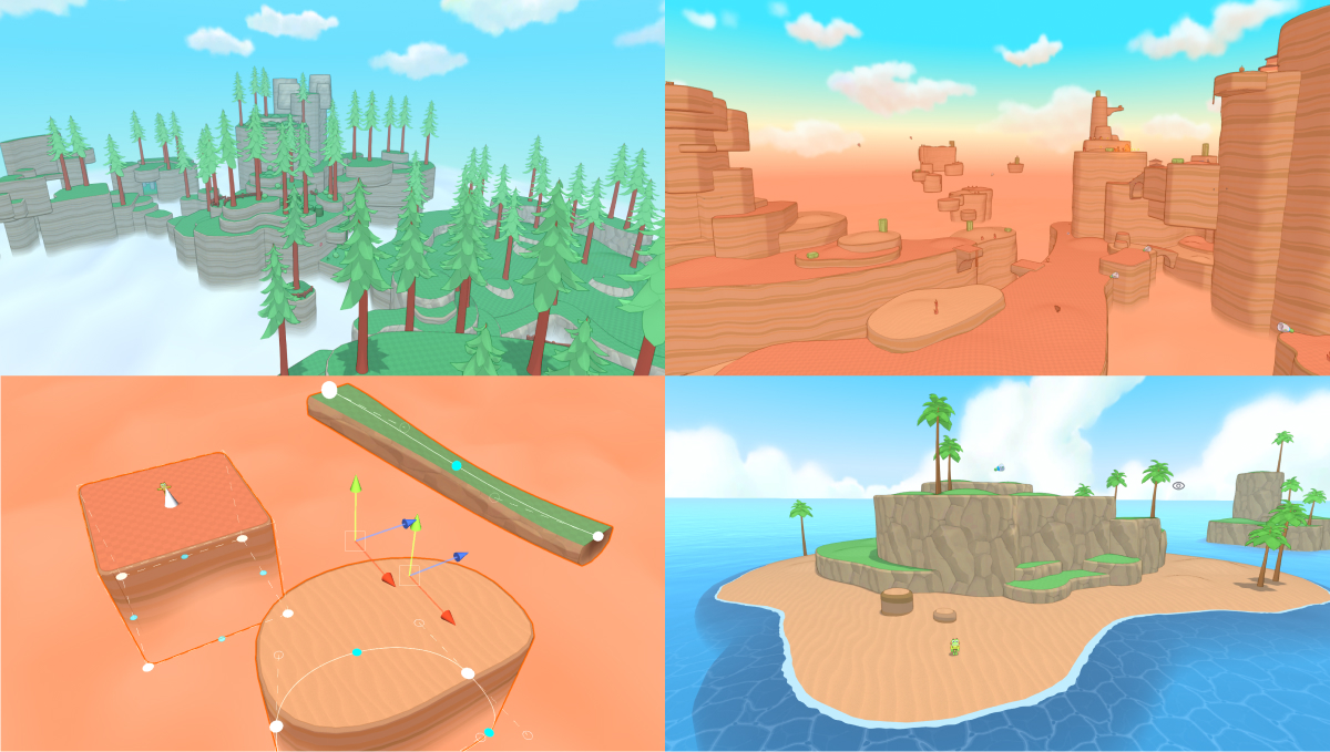 a series of low poly landscapes