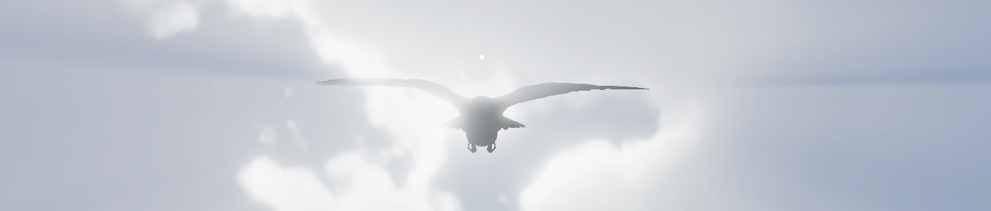 a pigeon soaring through the clouds towards you