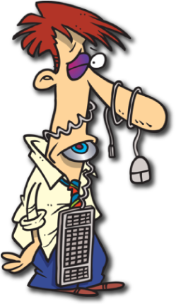 cartoon character in need of computer repair
