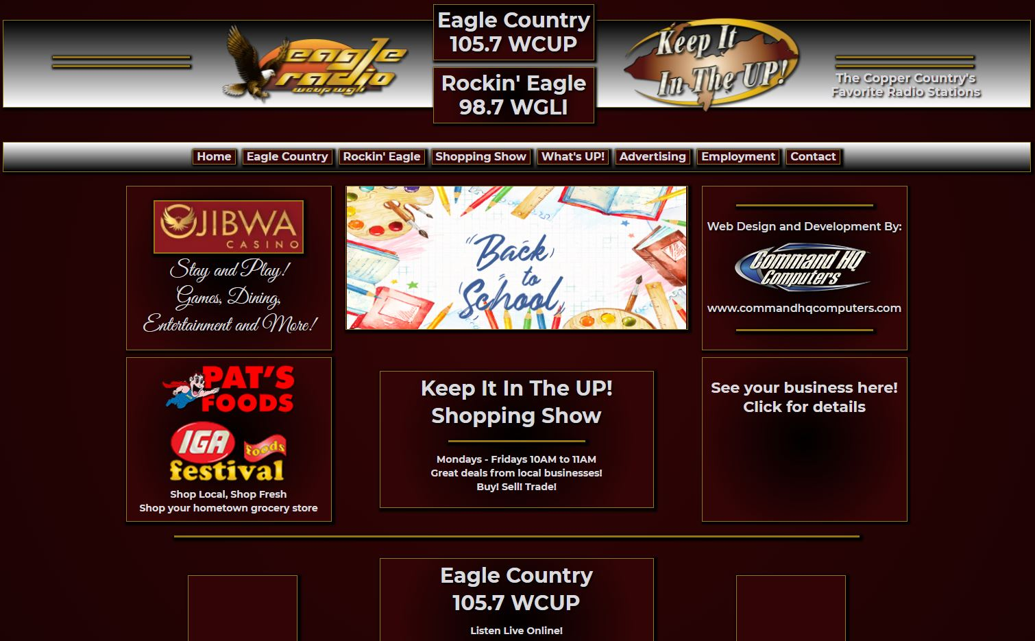 screenshot of Eagle Radio website