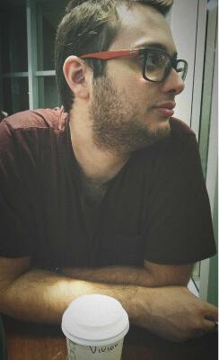 Tiago at a coffee shop
