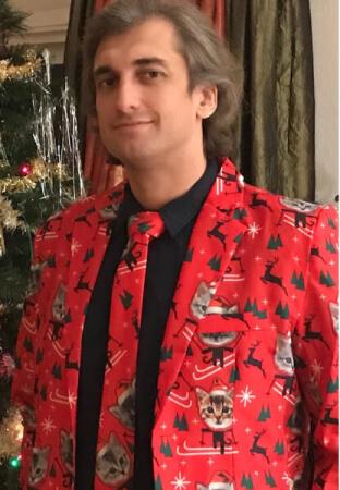 Konstantin posing in his Mr. Cat outfit