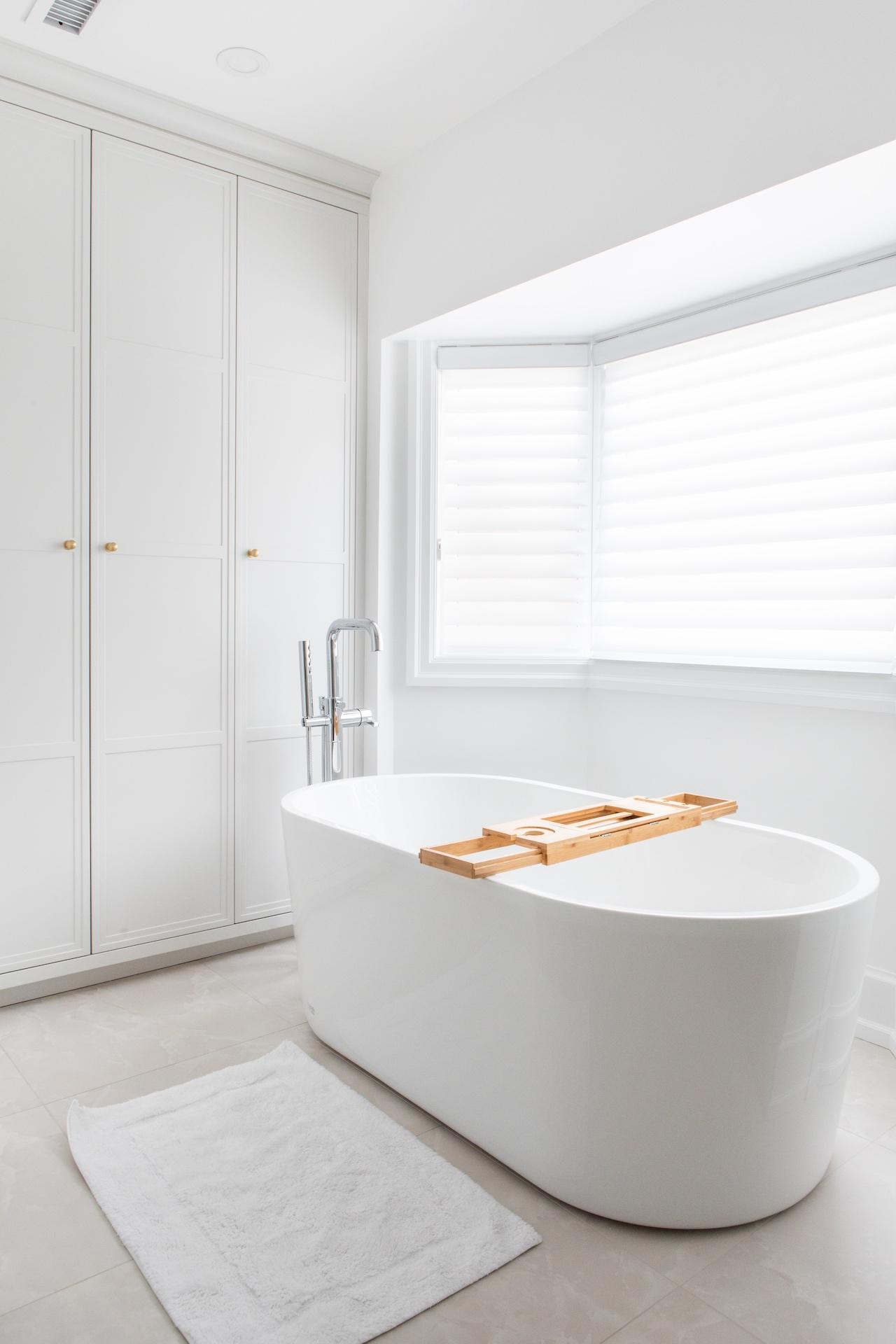 white tub in bathroom