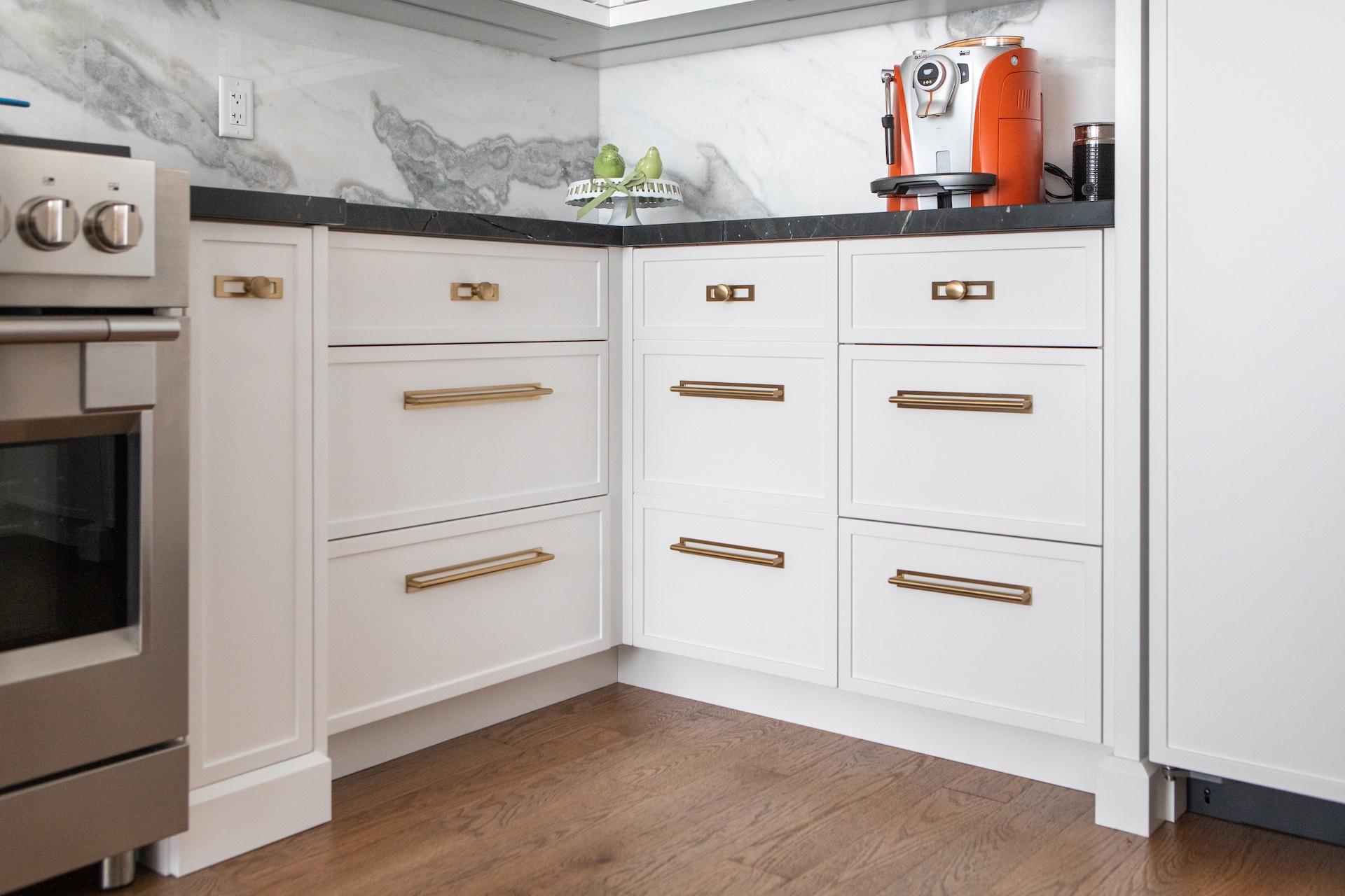 Kitchen cabinets with espresso machine