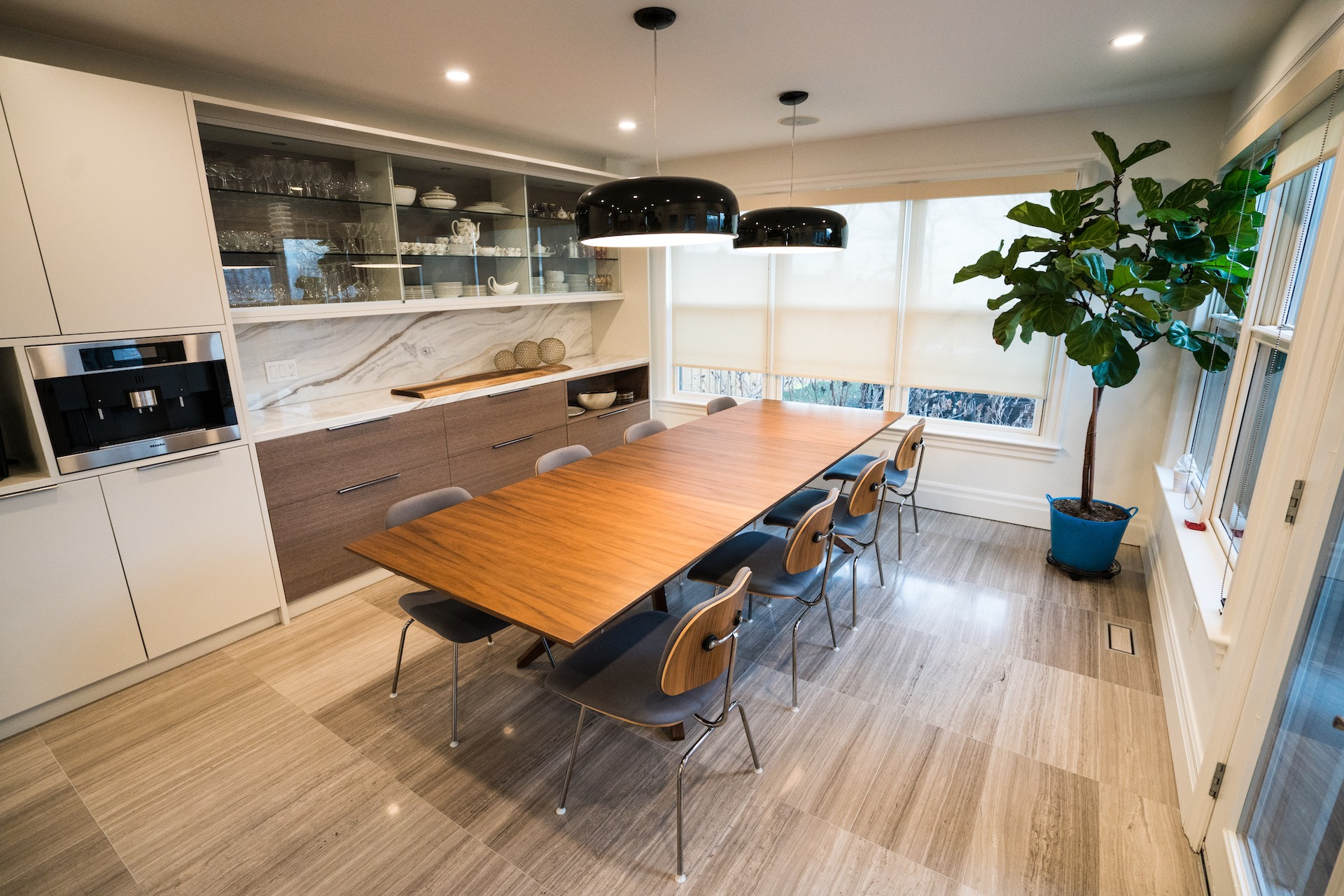Kitchen table with wood chairs