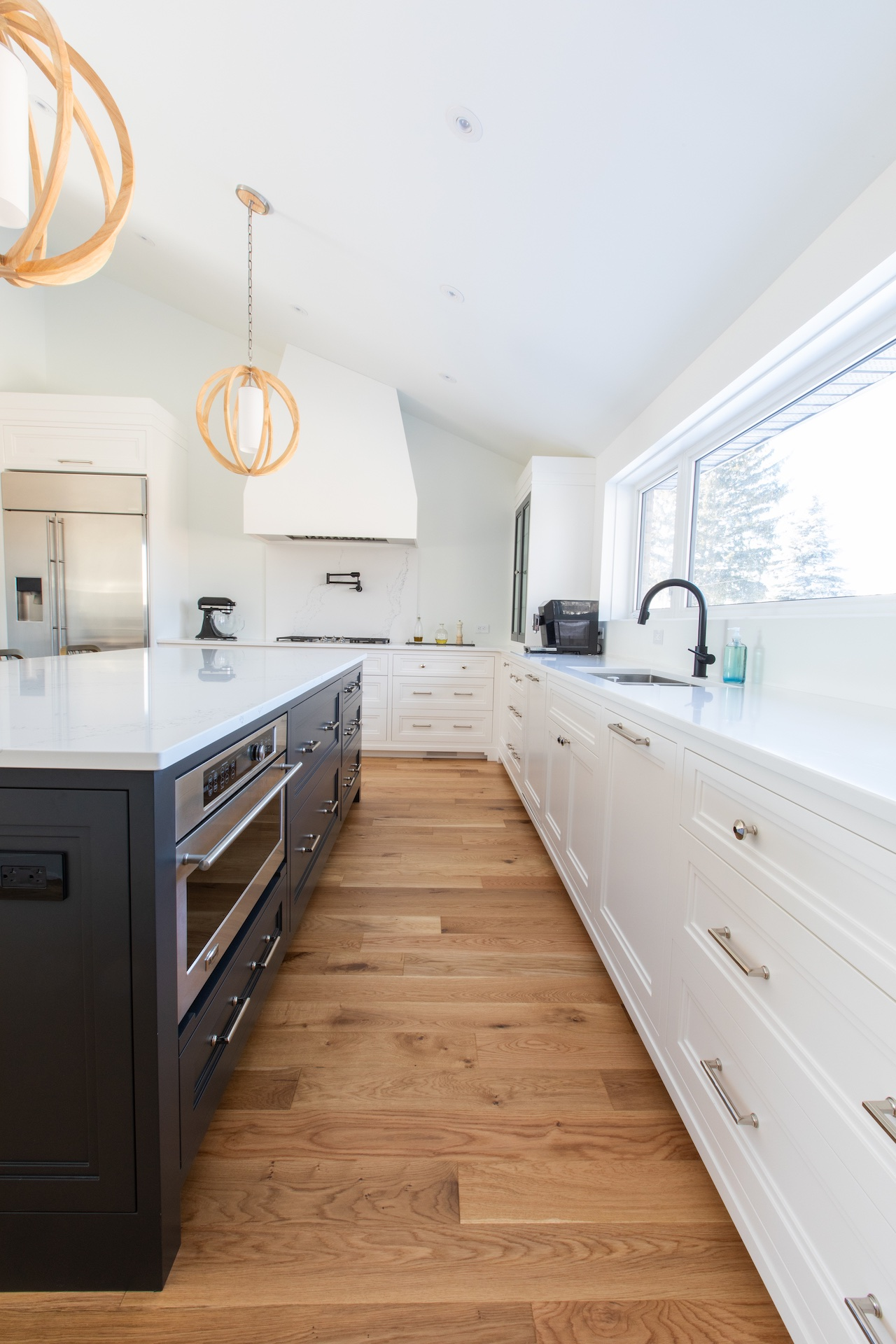 blue island with white cabinets