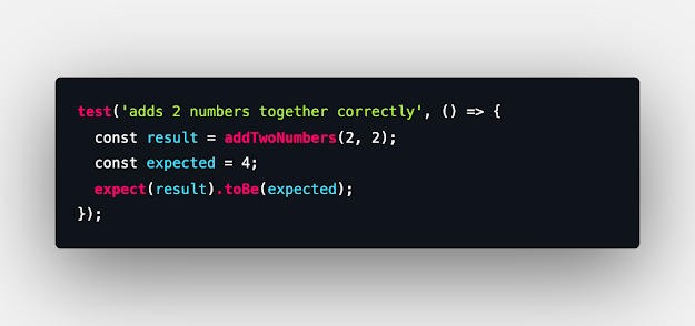 test('adds 2 numbers together correctly', () => {   const result = addTwoNumbers(2, 2);   const expected = 4;   expect(result).toBe(expected); });