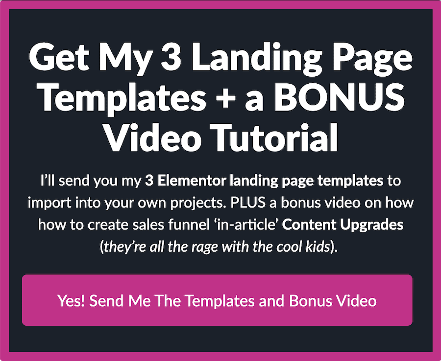 Opt-in box for the landing pages content upgrade