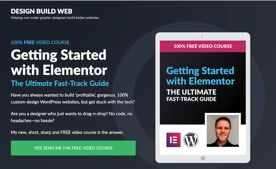 Screenshot of the top of the landing page for the free Elementor course